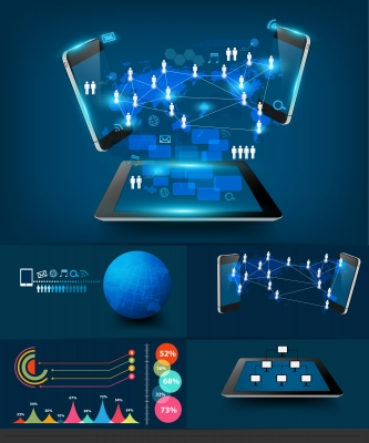 Modern Infographics Business Technology Communication by KROMKRATHOG
