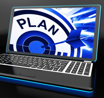 Plan On Laptop Showing Careful Planning by Stuart Miles
